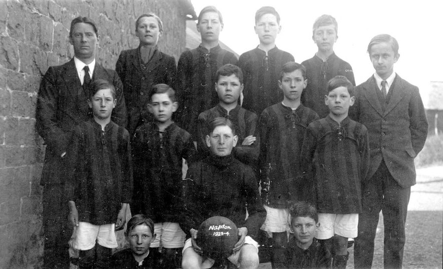 Napton on the Hill football team.  1923/4 [Far left person of the second row is Alfred Payne, School Master of Napton Boys School.] |  IMAGE LOCATION: (Warwickshire County Record Office)