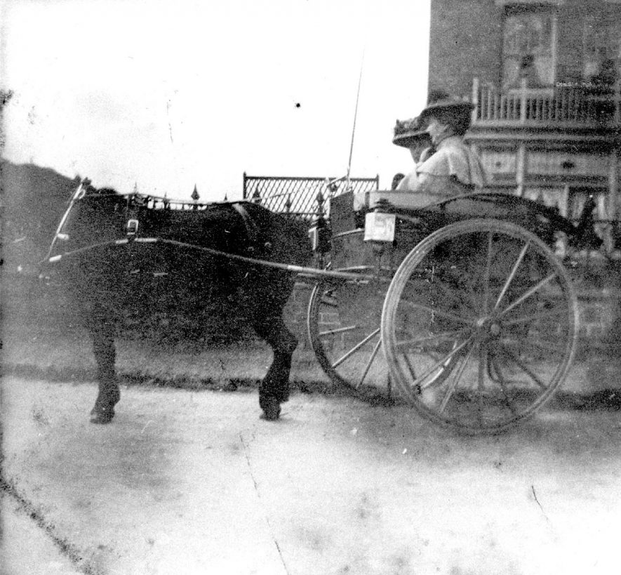 Pony and trap in Station Road, Polesworth.  1900s |  IMAGE LOCATION: (Warwickshire County Record Office)