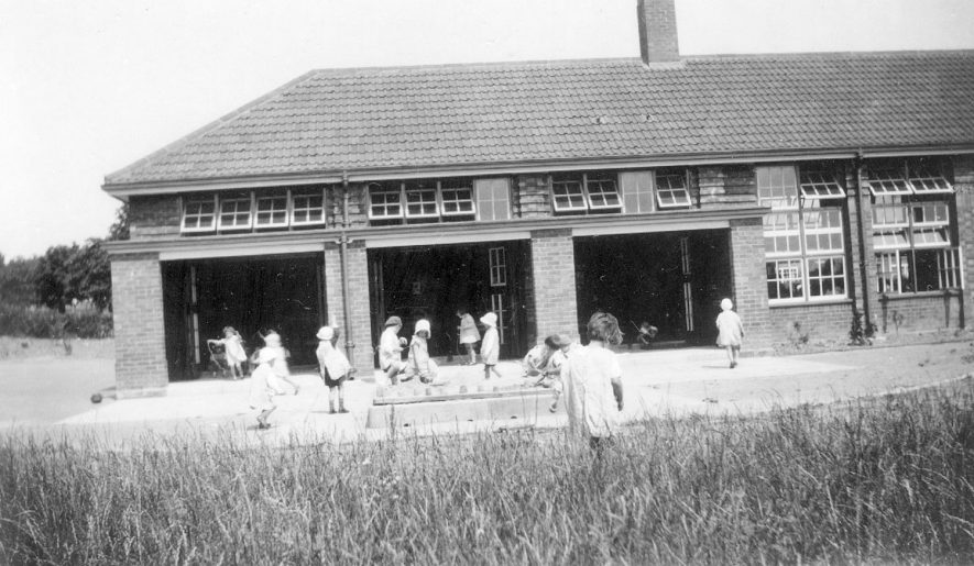 St John's School, Kenilworth, showing play area and sand pit.  1934 |  IMAGE LOCATION: (Warwickshire County Record Office)