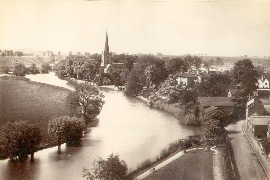 A view of the River Avon and Trinity Church at Stratford upon Avon.  1879 |  IMAGE LOCATION: (Warwickshire County Record Office)