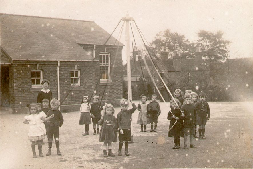 Studley Council School children (Class II) with May pole.  1921 |  IMAGE LOCATION: (Warwickshire County Record Office)