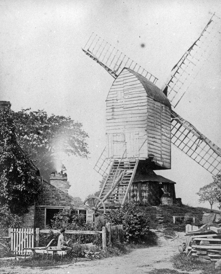 Windmill at the top of Windmill Hill, Cubbington. Demolished in 1870.  1860s |  IMAGE LOCATION: (Warwickshire County Record Office)