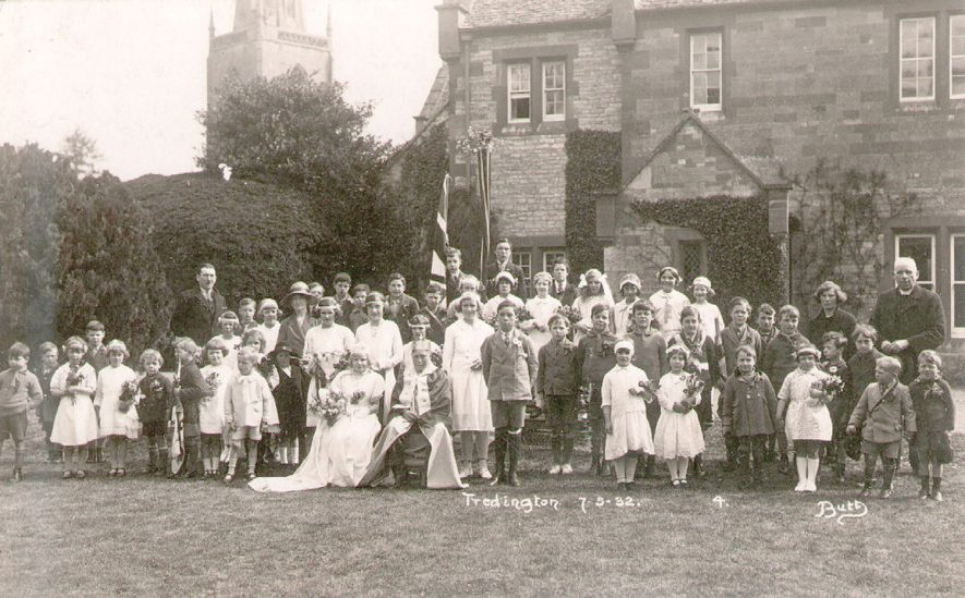 Tredington Church of England school group photograph of children dressed up to celebrate May Day.  1939 |  IMAGE LOCATION: (Warwickshire County Record Office)