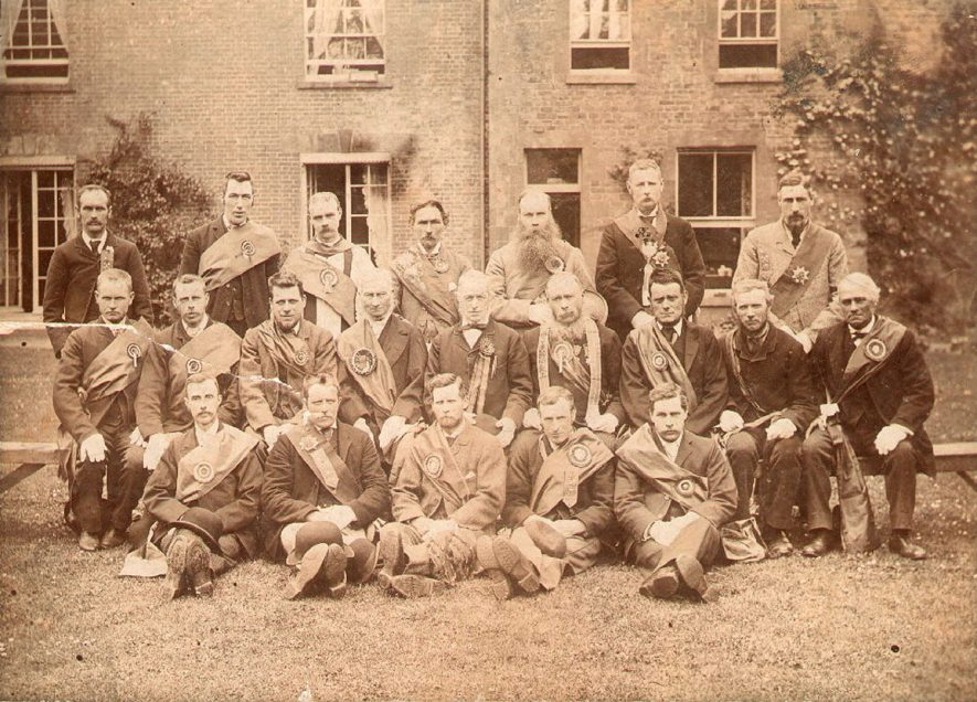 Court of the Greenwood Tree, Tysoe. Group photograph of the Foresters' Friendly Society. Joseph Ashby is one of the group.  1890s |  IMAGE LOCATION: (Warwickshire County Record Office)
