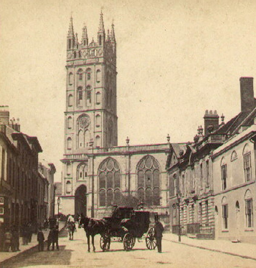 Church Street and part of St Mary's Collegiate Church, with horse and  carriage in the street. Warwick.  1860s |  IMAGE LOCATION: (Warwickshire County Record Office)
