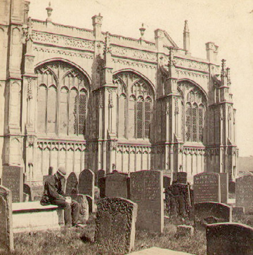 The Beauchamp Chapel (exterior) of St Mary's Collegiate church, Warwick. Old man sitting on tomb.  1860s |  IMAGE LOCATION: (Warwickshire County Record Office)