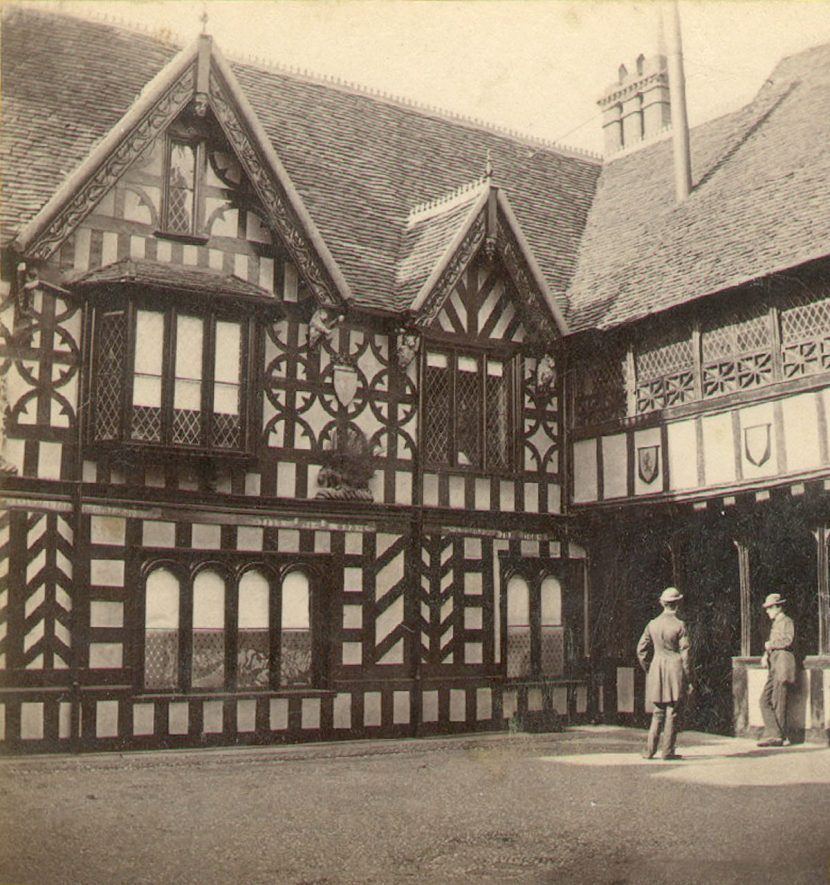The courtyard in the Lord Leycester Hospital, Warwick.  1870s |  IMAGE LOCATION: (Warwickshire County Record Office)