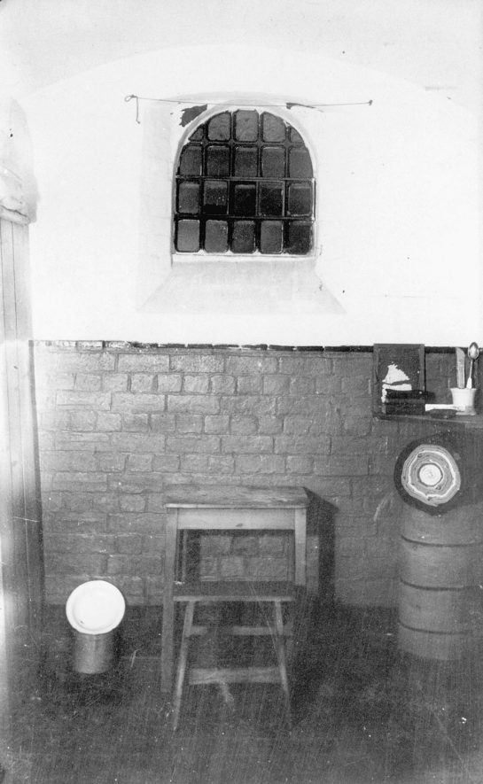 Interior of a cell at Warwick Gaol.  1900s |  IMAGE LOCATION: (Warwickshire County Record Office)