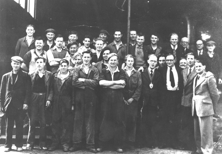 Group of workers from Napton Brickworks, Napton on the Hill.  1940s   [Front row - 1st left Jack Gunthrop, 5th left wearing beret, folded arms is Eric