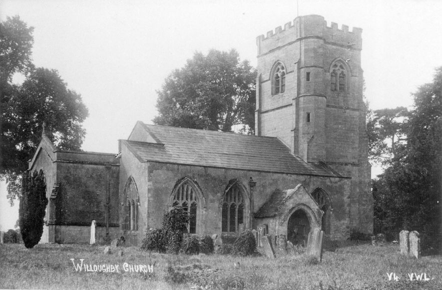 The Church of St Nicholas, Willoughby.  1920s |  IMAGE LOCATION: (Warwickshire County Record Office)