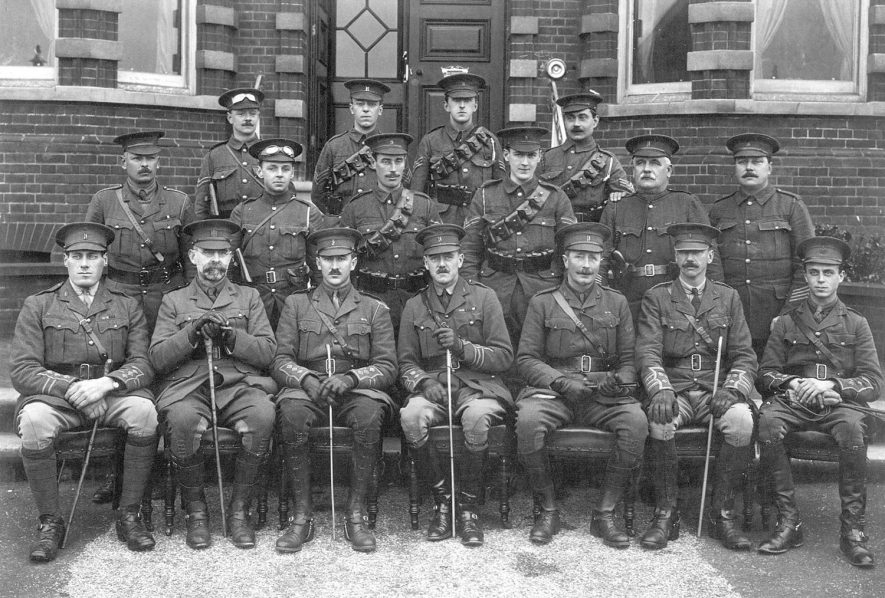 Warwickshire Yeomanry H.Q. Staff Seringham.  Front Row from left to right: Capt R. Valantine,  Rev L.V. Goodenough, Capt E.H. Stocker, Lt Col. T.A. Wight-Boycott, Major R. Airth Richardson, Sur Col. R. Bulllock and Lt Palmer.  1914 |  IMAGE LOCATION: (Warwickshire County Record Office) PEOPLE IN PHOTO: Wight-Boycott, Lt Col T A, Wight-Boycott as a surname, Valantine, Capt R, Valantine as a surname, Stocker, Capt E H, Stocker as a surname, Richardson as a surname, Ricardson, Major R Airth, Palmer, Lieut, Palmer as a surname, Goodenough, Revd L V, Goodenough as a surname, Bullock, Sur Col R, Bullock as a surname