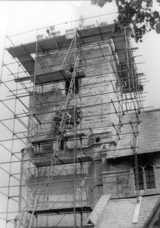 Repairs to Claverdon church tower.  1956 |  IMAGE LOCATION: (Warwickshire County Record Office)