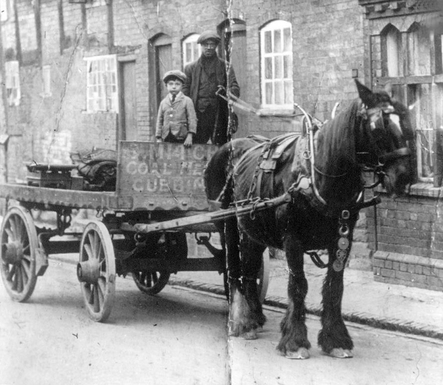 Coal merchant delivering coal in Cubbington by horse and cart.  1900s |  IMAGE LOCATION: (Warwickshire County Record Office)