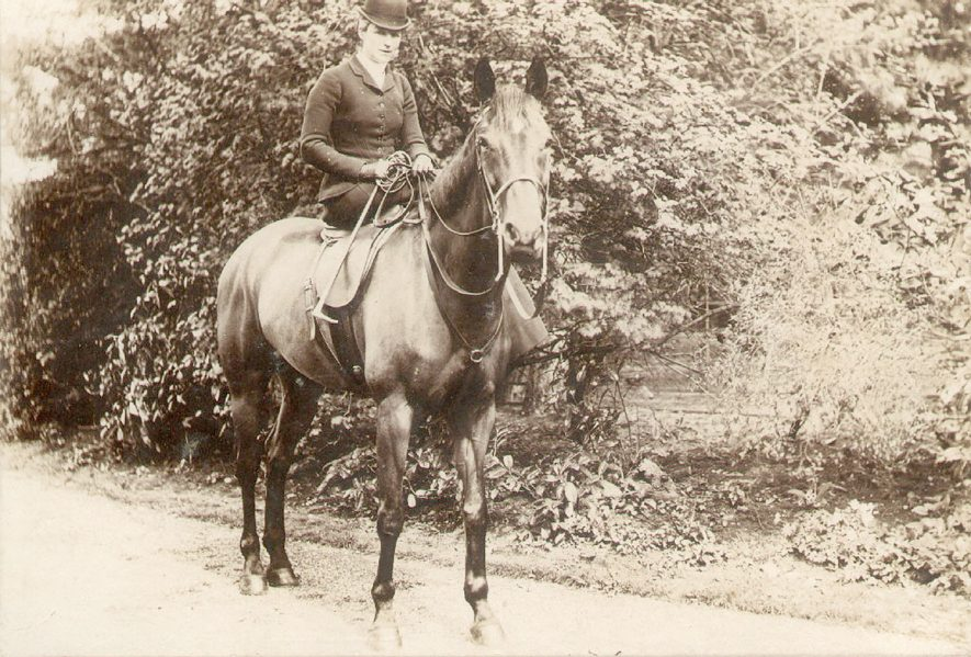 Sarah Beatrice Lowe on horseback, Ettington.  c.1894 |  IMAGE LOCATION: (Warwickshire County Record Office) IMAGE DATE: (c.1894) PEOPLE IN PHOTO: Lowe, Sarah Beatrice, Lowe as a surname