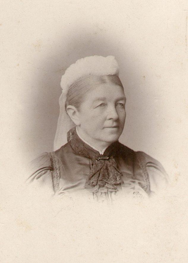 Rachel J. Lowe, wife of William Bevington Lowe, son of Jeffrey Bevington Lowe.  Ettington.  1875 |  IMAGE LOCATION: (Warwickshire County Record Office) PEOPLE IN PHOTO: Lowe, Rachel, Lowe as a surname