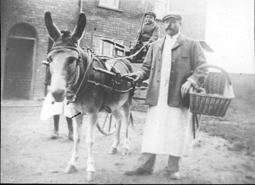 Bread purveyor with donkey and trap delivering bread in Cubbington.  1900s |  IMAGE LOCATION: (Warwickshire County Record Office)