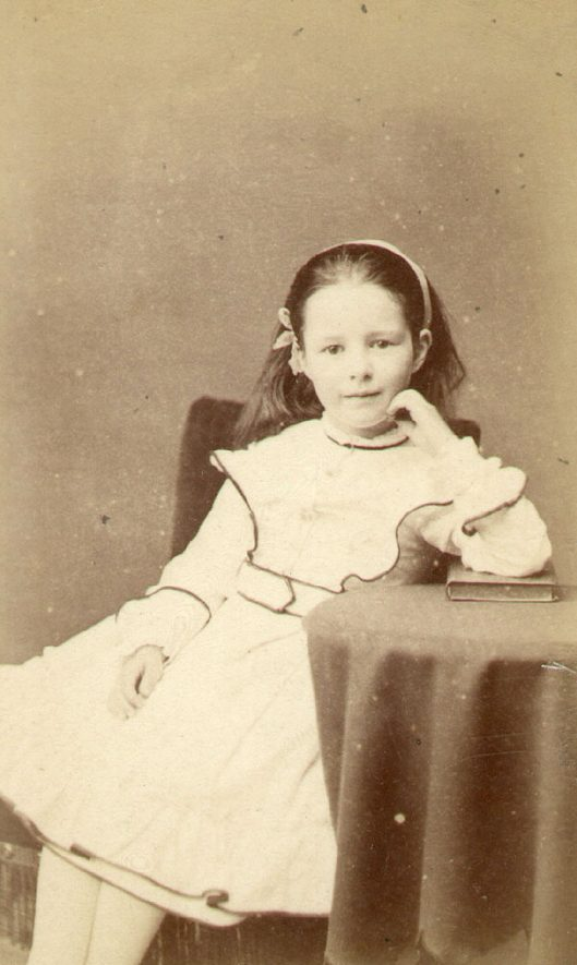 Sarah Beatrice Lowe, age 6.  Ettington.  1870 |  IMAGE LOCATION: (Warwickshire County Record Office) PEOPLE IN PHOTO: Lowe, Sarah Beatrice, Lowe as a surname