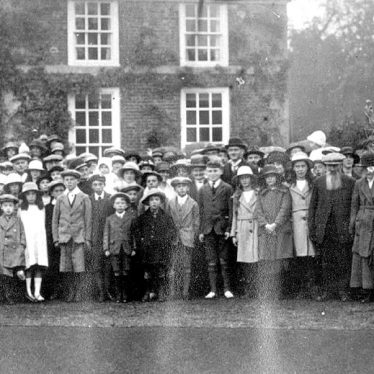 Clifford Chambers.  Gathering outside The Manor House