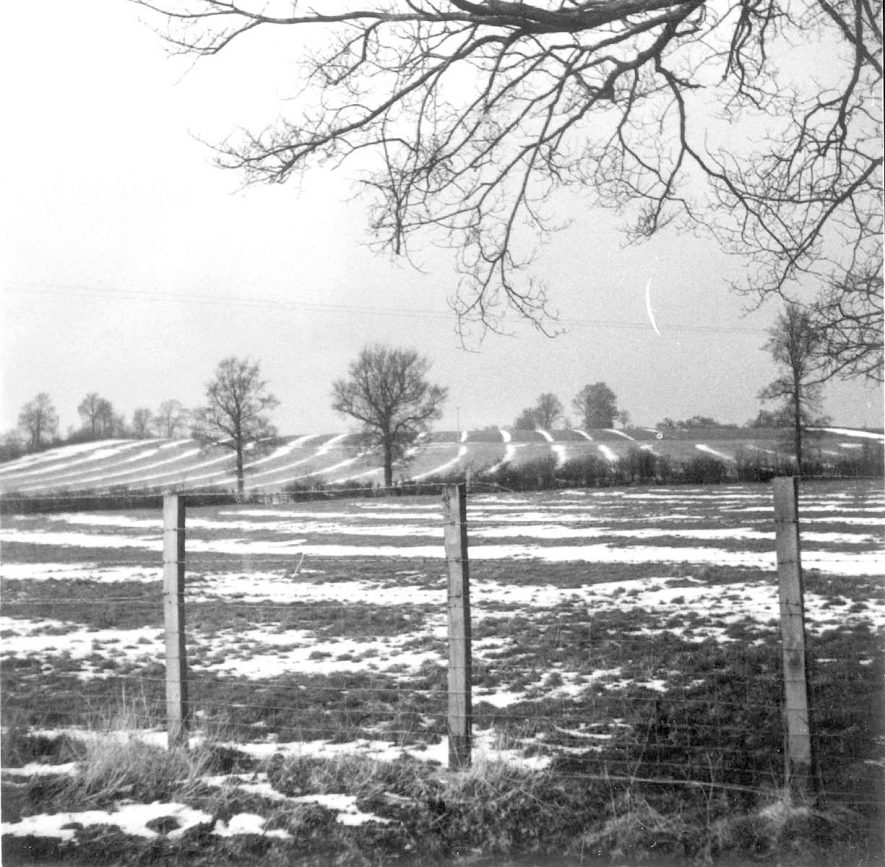 Looking towards Clifford Hill farm, from the Campden Road, Clifford Chambers. The snow shows up the old ridge and furrows.  1965 |  IMAGE LOCATION: (Warwickshire County Record Office)