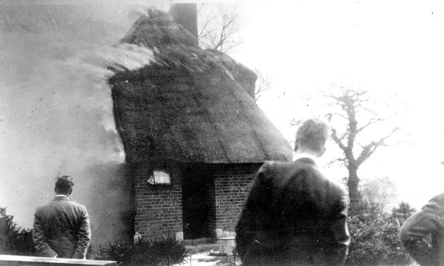 Fire at Monk's Barn farmhouse, Clifford Chambers, which was burnt down in 1935. Fortunately the old barn was not involved.  1935 |  IMAGE LOCATION: (Warwickshire County Record Office)