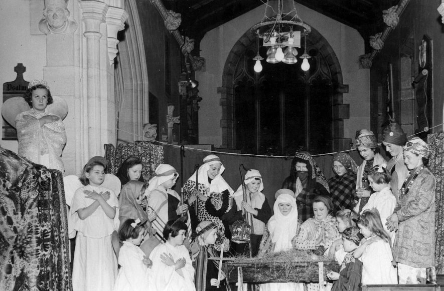 Children performing the Sunday school nativity play in Clifford Chambers church.  1952 |  IMAGE LOCATION: (Warwickshire County Record Office)