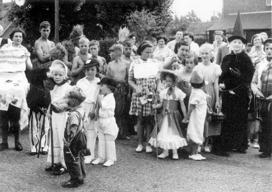 Children taking part in a fancy dress competition at the horticultural show at Clifford Chambers in 1955. |  IMAGE LOCATION: (Warwickshire County Record Office)