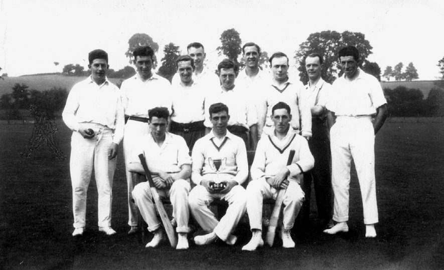 Members of the cricket team at Clifford Chambers cricket club.  1950s |  IMAGE LOCATION: (Warwickshire County Record Office)