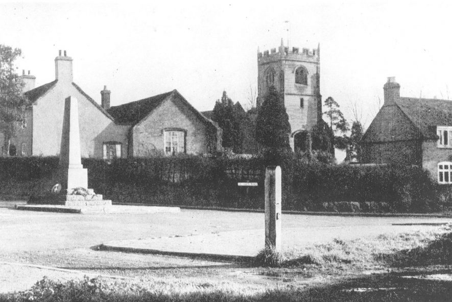 St Giles church and war memorial, Exhall, nr Coventry.  1930s |  IMAGE LOCATION: (Warwickshire County Record Office)