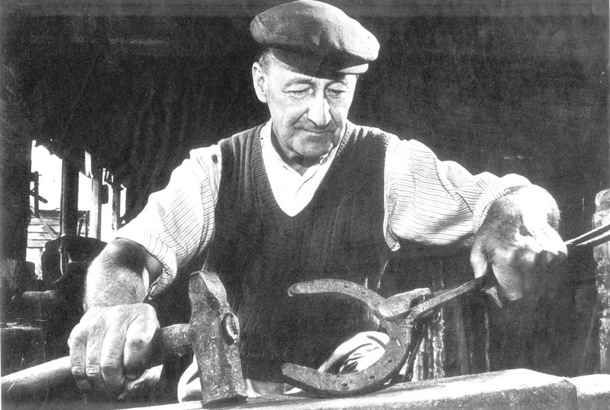 Mr. Mason of Exhall, nr Alcester, working at the Bomford Forge at Exhall.  1950s    IMAGE LOCATION: (Warwickshire County Record Office) PEOPLE IN PHOTO: Mason, Mr, Mason as a surname