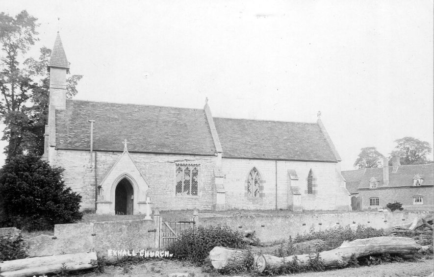 Exterior of St Giles church, Exhall, nr Alcester.  1900s |  IMAGE LOCATION: (Warwickshire County Record Office)