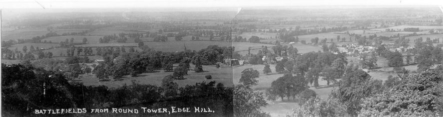 Battlefields from Round Tower, Edgehill.  1920s |  IMAGE LOCATION: (Warwickshire County Record Office)