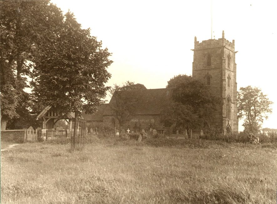 Exterior of St Nicholas' Church, Curdworth.  1920s |  IMAGE LOCATION: (Warwickshire County Record Office)