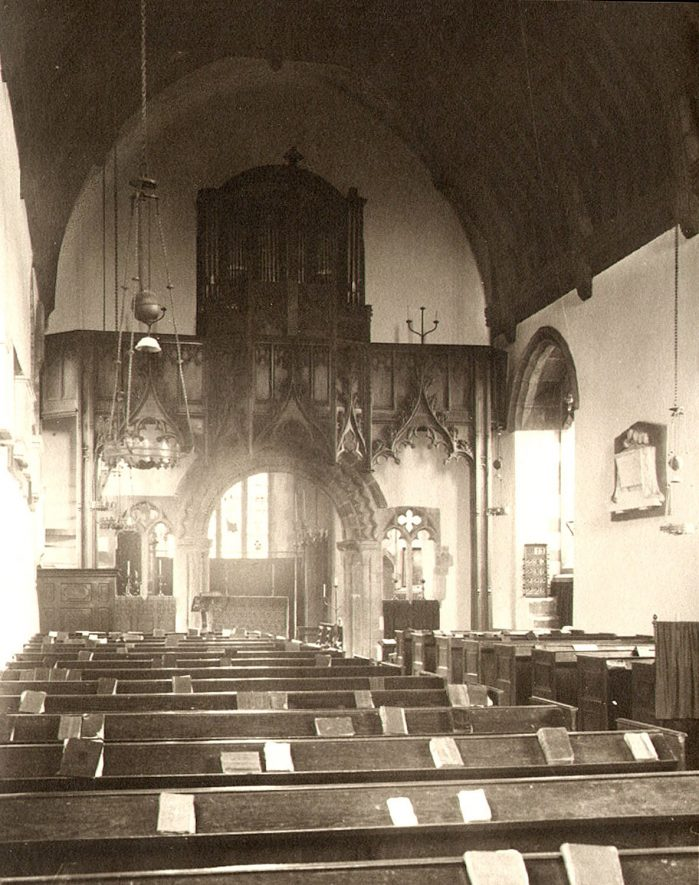 Interior of St Nicholas' Church, Curdworth.  1920s |  IMAGE LOCATION: (Warwickshire County Record Office)