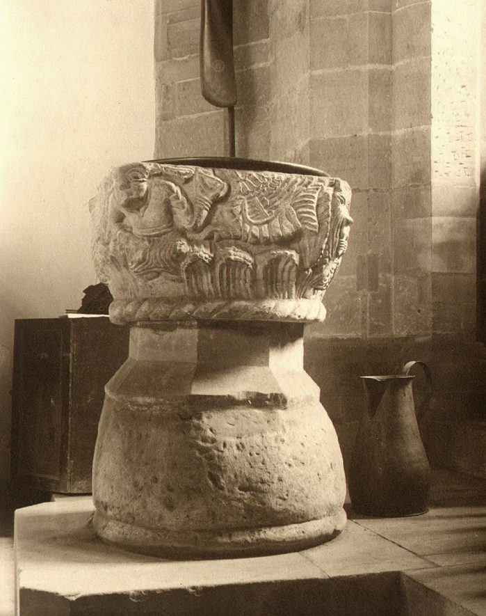 St Nicholas' church font, Curdworth.  1920s |  IMAGE LOCATION: (Warwickshire County Record Office)