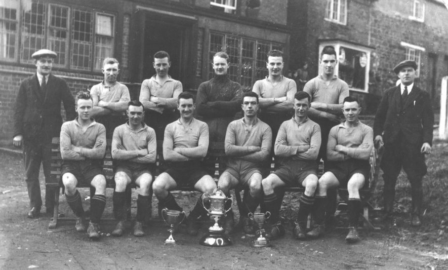 Napton Football Club group photograph taken outside the Crown Inn.  1930s |  IMAGE LOCATION: (Warwickshire County Record Office)