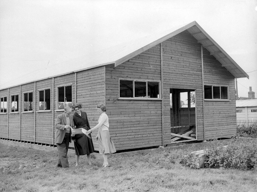 Eathorpe village hall under construction.  1956 |  IMAGE LOCATION: (Warwickshire County Record Office)