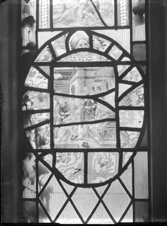 Dutch glass in Radway church window.  1942 |  IMAGE LOCATION: (Warwickshire County Record Office)