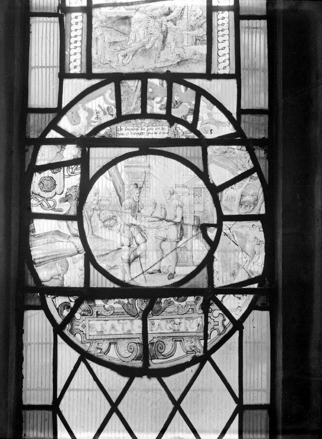 17th century Dutch glass in Radway church window.  1942    IMAGE LOCATION: (Warwickshire County Record Office)