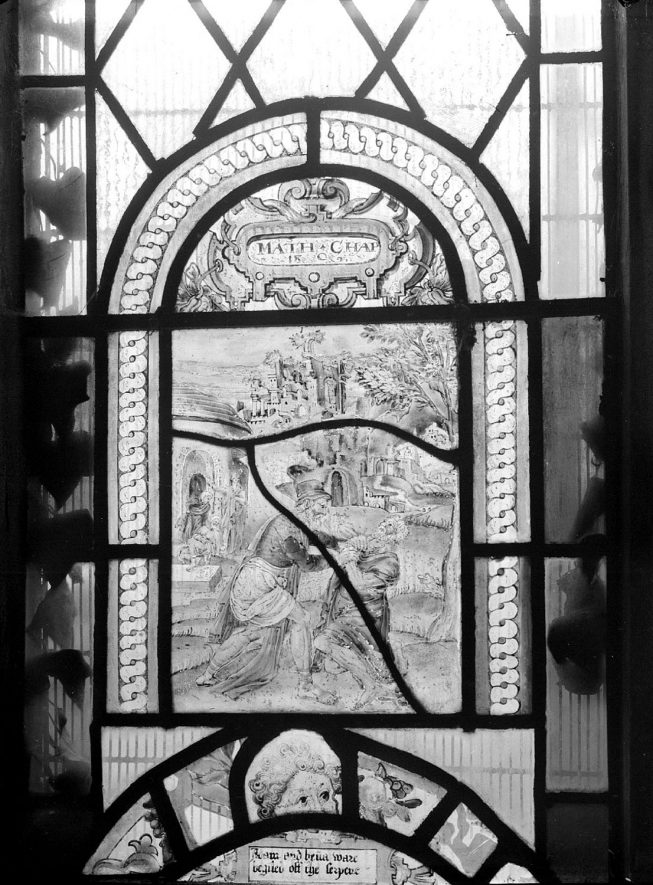 17th century Dutch glass in Radway church window.  1942 |  IMAGE LOCATION: (Warwickshire County Record Office)