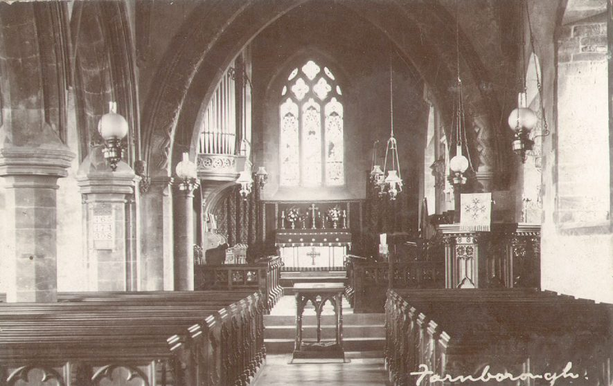 Chancel of Farnborough parish church, looking east.  1900s |  IMAGE LOCATION: (Warwickshire County Record Office)