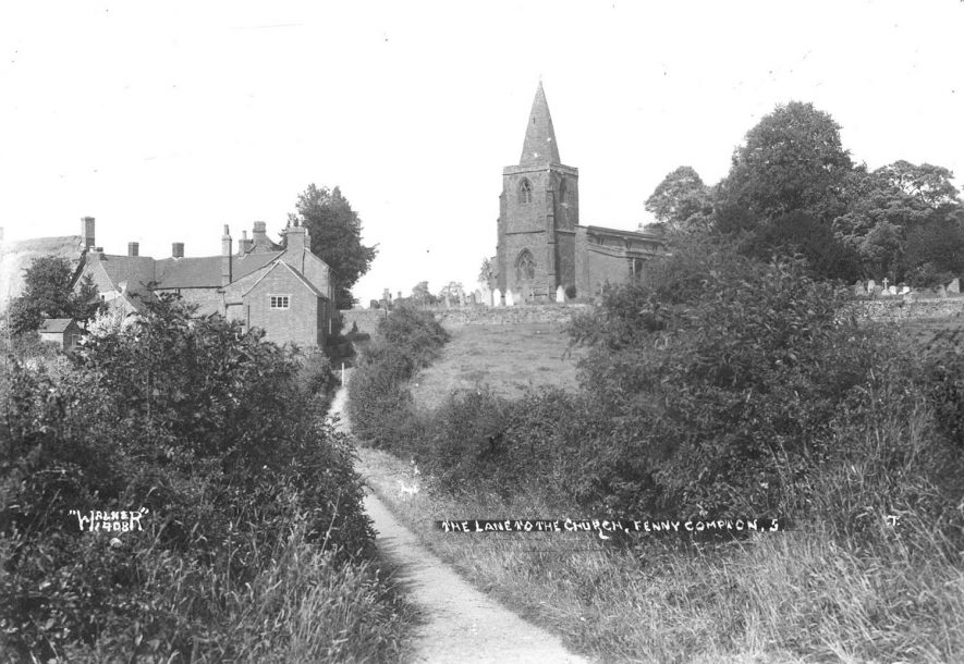 Lane leading to church and cottages, Fenny Compton.  1940s. |  IMAGE LOCATION: (Warwickshire County Record Office)