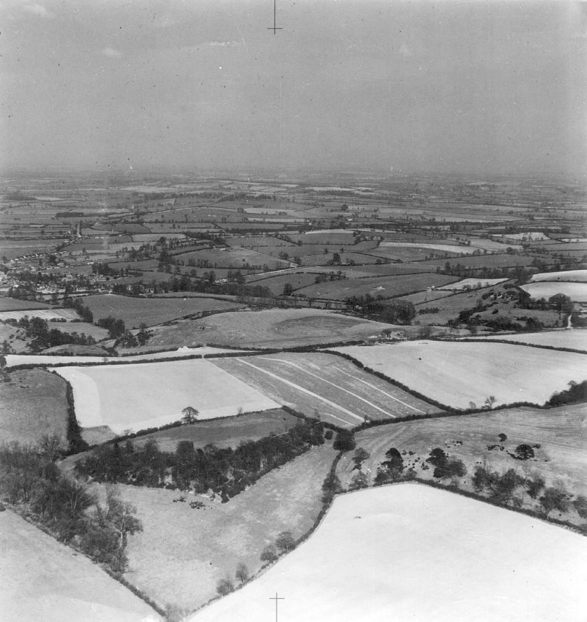 Aerial view of Fenny Compton and surrounding countryside as seen from Gredenton Hill.  1950s |  IMAGE LOCATION: (Warwickshire County Record Office)
