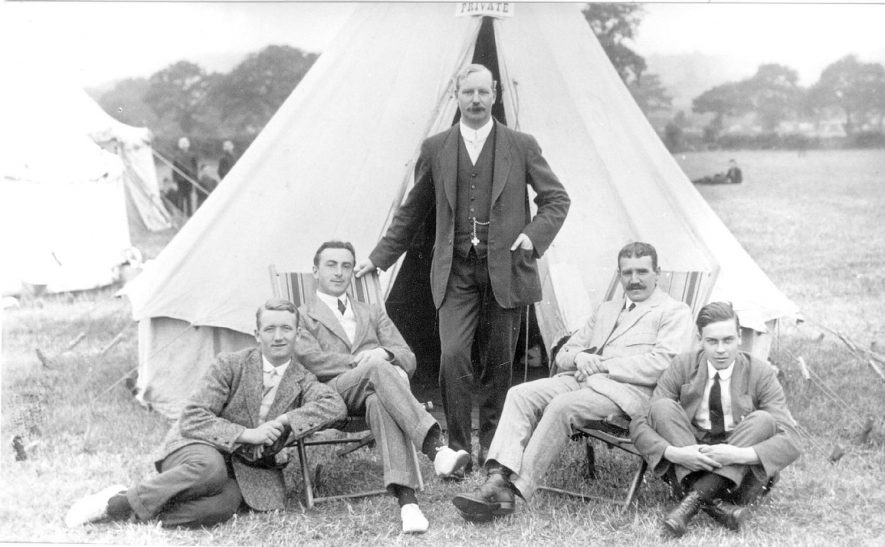 Group of Shawbury Industrial school masters in front of a tent. Fillongley.  1913 |  IMAGE LOCATION: (Warwickshire County Record Office)