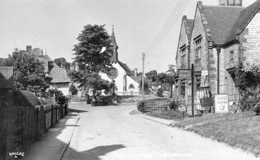 Part of village showing cottages, shop, cafe and chapel, Combrook.  1930s |  IMAGE LOCATION: (Warwickshire County Record Office)