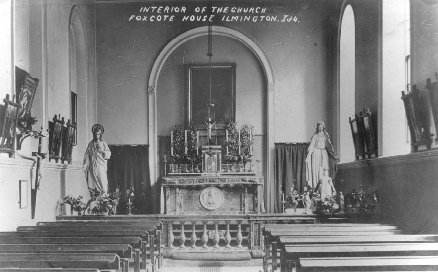 The interior of the catholic church at Foxcote House, Ilmington.  1900s |  IMAGE LOCATION: (Warwickshire County Record Office)
