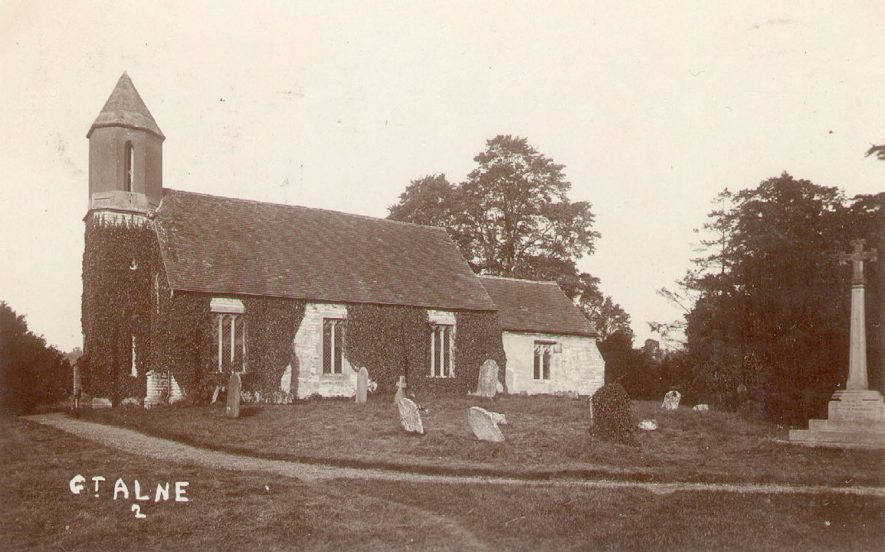 Exterior of St Mary Magdalene church and churchyard, Great Alne.  1900s |  IMAGE LOCATION: (Warwickshire County Record Office)