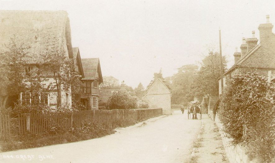 Cottages in Great Alne. A horse and cart is standing in the road.  1900s |  IMAGE LOCATION: (Warwickshire County Record Office)