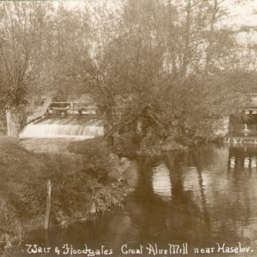Great Alne.  Weir and floodgates at The Mill