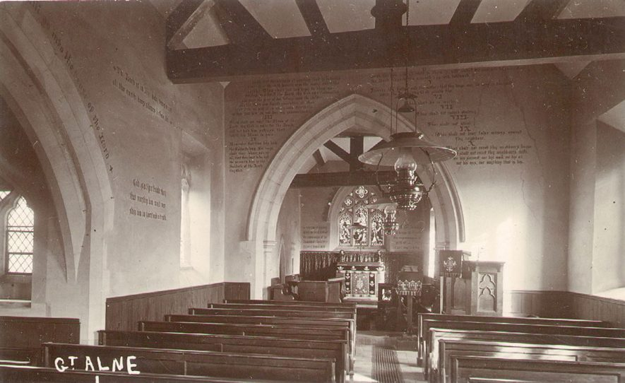 The interior of St Mary Magdalene church, Great Alne.  1900s |  IMAGE LOCATION: (Warwickshire County Record Office)