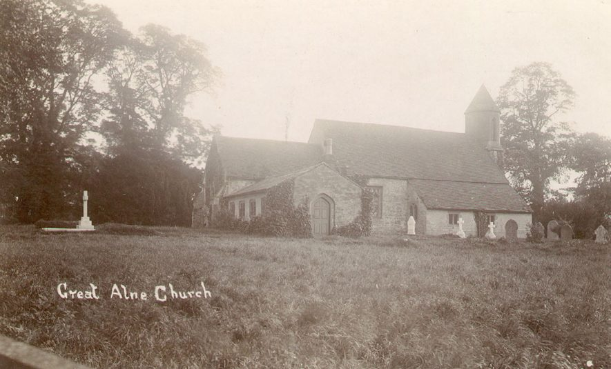 St Mary Magdalene church and churchyard, Great Alne  1900s |  IMAGE LOCATION: (Warwickshire County Record Office)